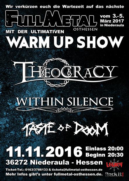 Das WarmUp mit Theocracy, Whithin Silence und Taste of Doom im DGH Niederjossa